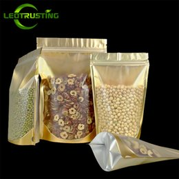 Sugar Bag Wholesale Australia - Leotrusting 100pcs lot Stand up Clear Front Gold Inlay Ziplock Bag Resealable Plastic Heat Sealing Bag Sugar Nuts Home Supplies Storage Bags
