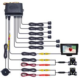 "Car Video Lcd Australia - Car 4.3"" LCD Monitor 6-Sensor Radar 2pcs 4-LED CCD Camera Dual Visual Rearview Video Parking Sensor System #1013"