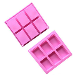 silicone rectangle cake mould NZ - silicone soap molds 6 Cavity Hole Rectangle DIY Baking Mold Tray Handmade Cake Biscuit Candy Chocolate Moulds Non-stick baking Tools LX7953