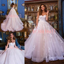 $enCountryForm.capitalKeyWord Australia - Bohemian Vintage 2020 Blush Pink Tulle Wedding Dresses Appliqued Lace Boho Bridal Gowns Elegant Bride Dress Vestidos De Novia Lace Up Back
