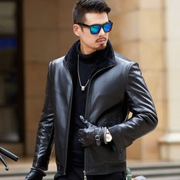 Thick Genuine Leather Australia - Pop2019 Pattern Bai Yarong Down Jackets Genuine Leather Clothing Loose Coat Men's Wear Clothes