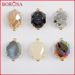 Natural Druzy Connector Australia - BOROSA 5 10PCS Gold Color Bezel Claw Heptagon Rainbow Titanium Druzy Faceted Drusy Connector Double Charms Jewelry ZG0332