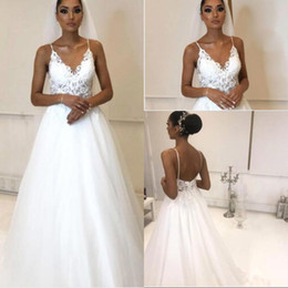 cheap white tulle dresses Australia - Sexy Cheap White Wedding Dresses Summer Beach Boho Bridal Gowns A Line Spaghetti Strap Tulle Floor Length Robe de soriee