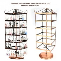 Discount earrings six - Six Layers 288 Holes Jewelry Display Stand Rotatable Earrings Necklace Bracelet Jewelry Display Stands Hanger