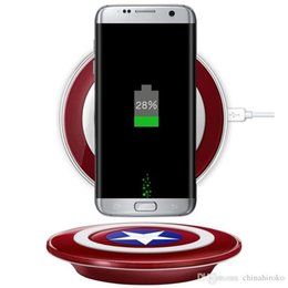 Wholesale Qi Wireless Charger Pad Fast charging Accesorios Captain America Shield Charging Pad Travel Portable Charger For iPhone X XS XR Samsung LG