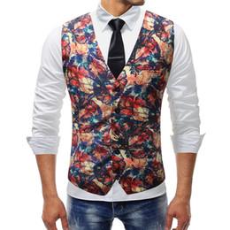 Men Suits Flowers Australia - M-5XL Men Clothes 2019 New Chalecos Para Hombre Men Fashion Print Flower Vest Casual Suit Vest Four Seasons Colete Masculino