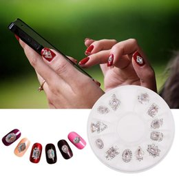 Christmas Gift Nails Australia - 12Grid Nail Art Wheel Alloy Crystal Ornaments Jewelry Accessories Manicure Decor Tools 7style nail art decoration christmas gift