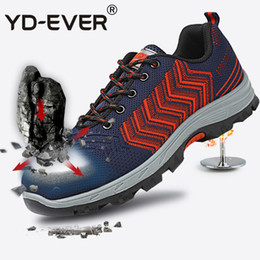 Lace yds online shopping - YD EVER Anti skid plus size mesh work safety shoes for men breathable with low help and rubber shoes