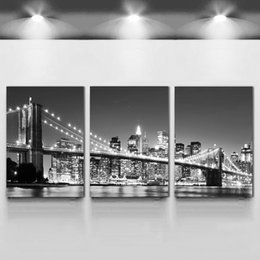 wedding canvas prints NZ - 3 Piece Hot Sell Modern wall Painting New York Brooklyn bridge Home wedding Decorative Modular Picture Print on Canvas no framed