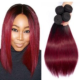 Discount burgundy ombre human hair extensions - Indian Straight Hair Bundles Ombre Human Hair Bundles 1b burgundy Straight Virgin hair Extension 1b 99J