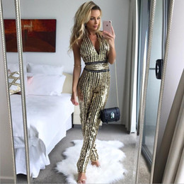 Women Fashion Jumpsuit Australia - Women Fashion Multi-color Striped Wide Leg Sequin Jumpsuits Sexy Deep V Neck Long Sleeve Party Club Playsuits