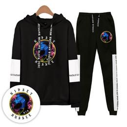 Venta al por mayor de Nipsey Hussle Chándal para hombre Primavera Otoño Conjuntos de ropa casual Mujer Adolescente Sudaderas con capucha Pantalones 2pcs Trajes
