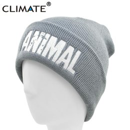 a86a75c5b5dfc CLIMATE Men Animal Beanie GYM Winter Hat for Men Warm Beanie Fitness Winter  Hats for Man Mens Animal Logo Fit Hat