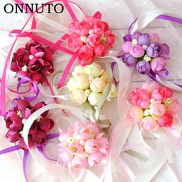 Artificial Chains Wholesalers Australia - Artificial Rose Wrist Corsage Bracelet Silk Rose Flower Bridesmaid Hand Flower With Leaf Ribbon Wedding Party Accessories 7C1359