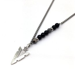 $enCountryForm.capitalKeyWord Australia - Fashion Famous Brand Three Colors Necklace Wine Men Arrow Simple Chain Long Arrow Necklace Jewelry Men