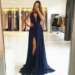 v neck lace slit chiffon Australia - Chiffon Prom Dresses with Lace deep v neck Sexy Open Back Party Dresses Dark Navy side slit Evening Dresses Hot Sale Evening Gowns 2019