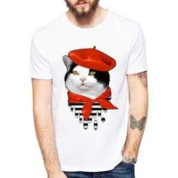 $enCountryForm.capitalKeyWord Australia - Cute Cat Breeze and cat Playing Drums T-shirts Men Summer Tops Tees Print Funny Animal T shirt Men o-neck Fashion Tshirts