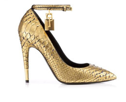 $enCountryForm.capitalKeyWord UK - Gold Faux Snake Leather High Heels Ladies Shoes Metal Padlock Women Shoes Sexy Pointed Toe Buckle Strap Women Pumps