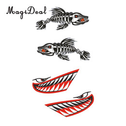 Discount graphics for cars - MagiDeal Universal 2 Pairs Skeleton Fish Shark Mouth Kayak Canoe Decals for Fishing Boat Graphic Dinghy Car Truck Motorc