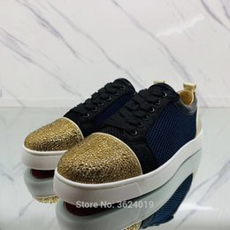Low Cut shoe blue Net cl andgz Lace Up Gold Rhinestone Diamond Red Bottoms  Shoes For Man Sneakers Leather Loafers Flat Footwear 97309d48f5cf