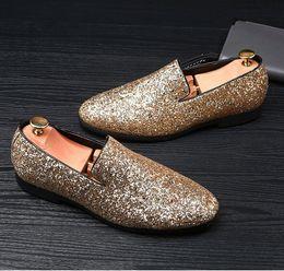 Black Sequins Shoes Australia - Luxury Designer Men Glitter Gold silver Black Sequins pointed Loafers Male Party Dress wedding shoes moccasins Groom shoes Z156