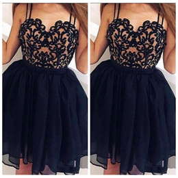 Wholesale girls night dresses resale online – Black Spaghetti Lace Top Short Homecoming Dresses Sexy Girls Graduations Cocktail Prom Party Gowns Mini Night Club Wear