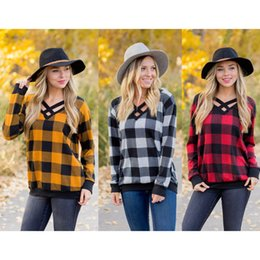 long sleeve belted blouse NZ - Women Plaid T-shirt Long Sleeve V-neck Pullover Casual Loose Tshirts Checkered Neck Halved Belt Tops Tees Fashion Girls Raglan Blouse New