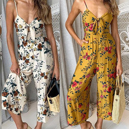 Yellow bodYsuits online shopping - Casual Women s Print Jumpsuit Sexy Sling Bohemia Beach V neck Women Rompers Loose Playsuits Bodysuits Jumpsuit