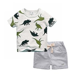 babies clothes for boys UK - Biniduckling Boys Sets 2018 Children Set Summer Boy Shorts Clothes Cartoon Dragon T-shirt And Pants For Kids Baby Cotton Suit Y190518