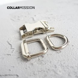 metal dog collars Canada - (metal buckle+adjust buckle+D ring set) DIY dog collar 20mm webbing sewing accessory high quality plated buckle 6 kinds