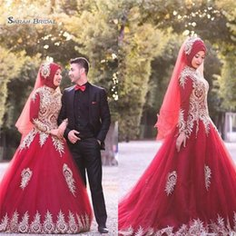 8176e0398b0 MusliM graduation dresses online shopping - 2019 Red A line High Collar  Evening Dresses with Gold