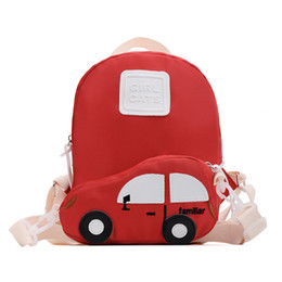 pink car set UK - 2019 Summer 3D Car Children Backpacks Brand Girl Boys Detachable Backpack Toddler Kids School Bags Kindergarten Back Bag Set