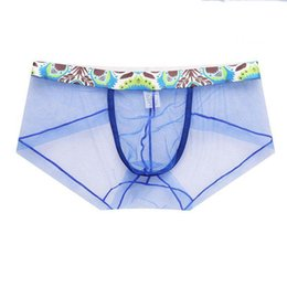 Discount transparent sheer underwear - 5Pcs lot Sexy Men Underwear Boxers Sheer Mesh Boxershorts Transparent Men Underwear Low waist Underpants Homme Cueca Kni