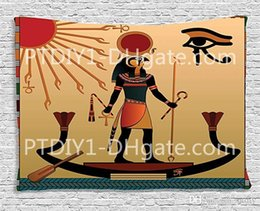 Egyptian Figures Australia - Egyptian Tapestry, Ancient Figure Sun Old Egyptian Religion Grace Icons Tradition Illustration Print, Wall Hanging for Bedroom Living Room