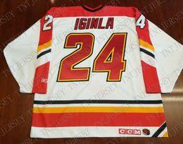 Jarome Iginla Hockey Jerseys UK - Cheap custom Jarome Iginla Rookie Jersey  Vintage CCM Calgary Flames 9b190031a
