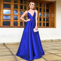 Formal sheer jackets online shopping - 2020 Royal Blue Prom Dresses Sexy Spaghetti Straps Backless A Line Evening Gowns Floor Length Formal Party Wear Special Occasion Dress
