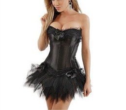 $enCountryForm.capitalKeyWord UK - Sexy New Gothic Satin Lingerie Lace Corset Top + G-string + Skirt Bustier Mini Tutu Wedding Dress Costume Black Corset S-6XL