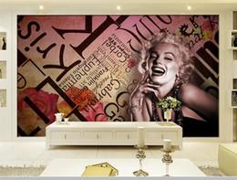 Marilyn Monroe Stickers For Walls Australia - custom size 3d photo wallpaper mural living room sex goddess Marilyn Monroe 3d picture sofa TV backdrop wall wallpaper non-woven sticker