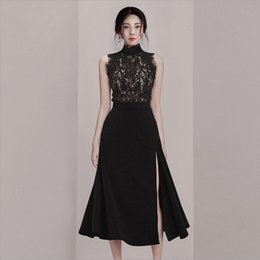 high collar costume Australia - Summer Vintage Black Lace Costumes For Women Elegant Sleeveless Stand Collar Tops And High Waist Big Hem Mid Skirt Two Piece Set