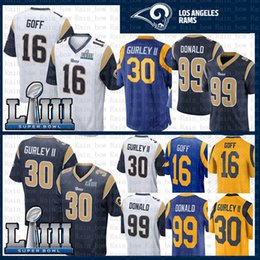 f652f0f8d Men St.louis Jersey Rams 30 Todd Gurley II 99 Aaron Donald 16 Jared Goff  2019 Super Bowl LIII Football Jersey Stitched White Blue Embroidery