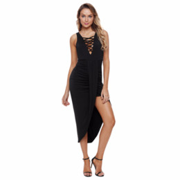 China Joansam Long Dress Women Black Blue Sexy Bodycon Crisscross V Neck Sleeveless Maxi Jersey Dress Vestidos Verano cheap jersey bodycon dress suppliers