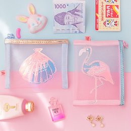 $enCountryForm.capitalKeyWord Canada - Flamingo Shell Net yarn Coin Purse Make up Case Bentoy Milkjoy Card Money Bag Girls Cute Fashion Cosmetic Box Korea Japan Style