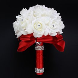 White Green Rose Wedding Bouquets Australia - Ayicuthia Cheapest Pe Bridesmaid Foam Flowers Rose Bridal Ribbon Fake Wedding Bouquet De Noiva 9 Color S30 C19041701