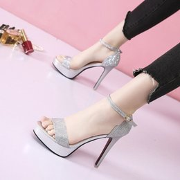 Transparent Crystal Banquet Dance Shoes Sexy Trend Korean Edition 17 Cm Over High Heel Sandals Office & School Supplies