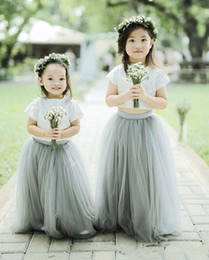 $enCountryForm.capitalKeyWord Australia - 2020 Cheap A Line Crew Two Pieces Flower Girls Dresses For Wedding Floor Length Grey Tulle White Lace Top short Sleve