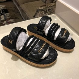 Half dragged sHoes online shopping - Top quality luxury flip flops summer fashion hemp rope Beach flat gladiator sandals Half drag sandals Comfortable women casual shoes