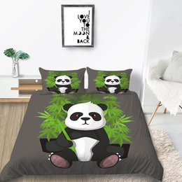 China Cute Panda Bedding Set Cartoon Bamboo Fashionable Duvet Cover Grey King Queen Twin Full Single Double Soft Bed Cover with Pillowcase supplier panda bedding sets queen suppliers