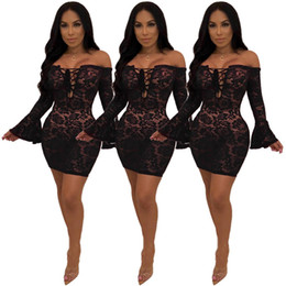 $enCountryForm.capitalKeyWord NZ - Black Floral Lace Mini Dress 2018 Women Sexy Long Flare Sleeve Off Shoulder Slash Neck Sheer Embroidery Night Club Party Pencil Dresses