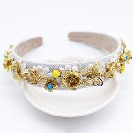 hair angels 2019 - Luxury Vintage Baroque Headband Gold Angel Charm Queen Crown Flower Tiaras Butterfly Women Hair Jewelry Wedding Hair Acc