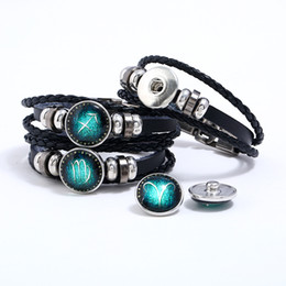 Model Charm Australia - New Classic Twelve constellation charm horoscope bracelets leather bracelet punk jewelry snap button changable model no. NE942-2